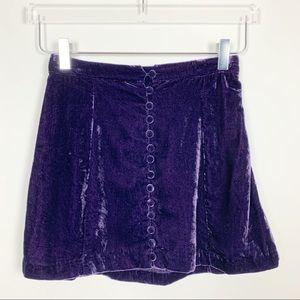 Urban Outfitters | Purple Velvet Mini Skirt
